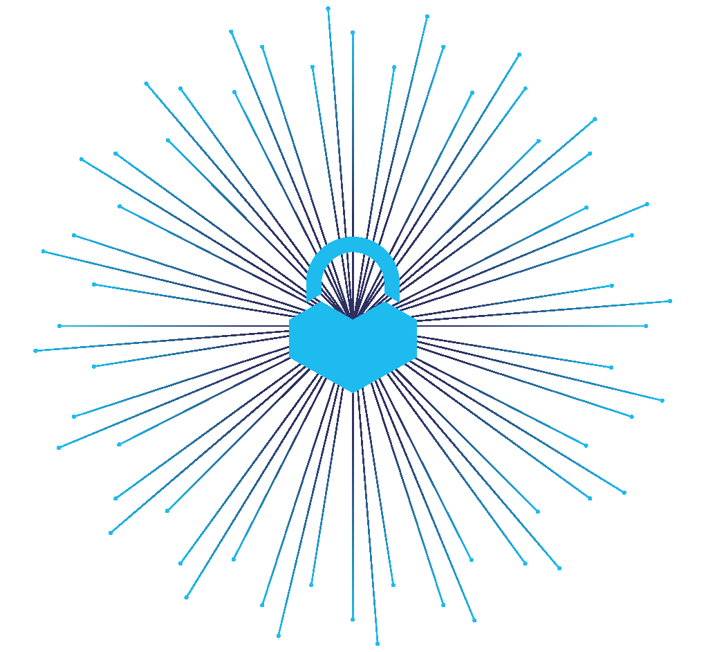 Blue heart-shaped lock icon with lines surrounding it