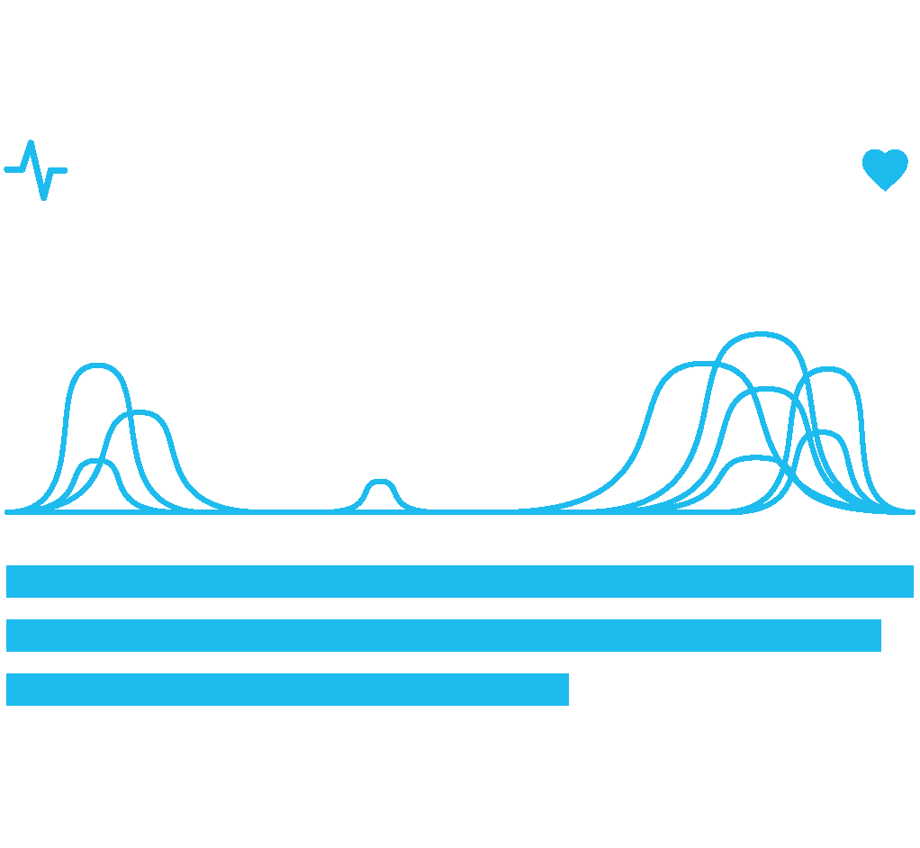 Blue graph icon with peaks on the left and right with pulse and heart icons