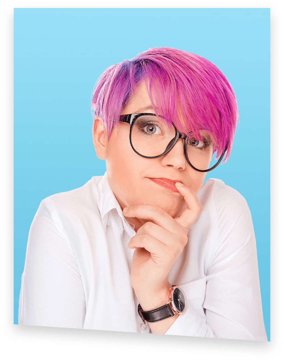A shmoop student with magenta hair shrugging her shoulders with finger touching her confused face
