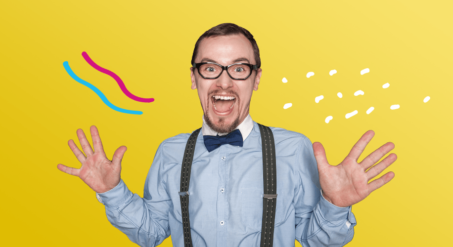 Shmoop teacher excited and surprised with a bright yellow background