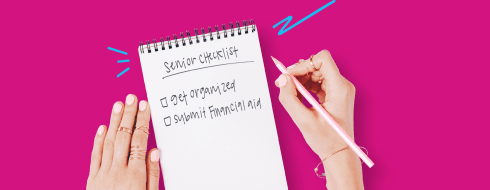 A shmoop student's senior checklist consisting of get organized and submit financial aid