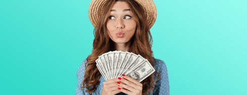 Curious Shmoop student with brown hair holding hundred dollar bills fanned out in her hand