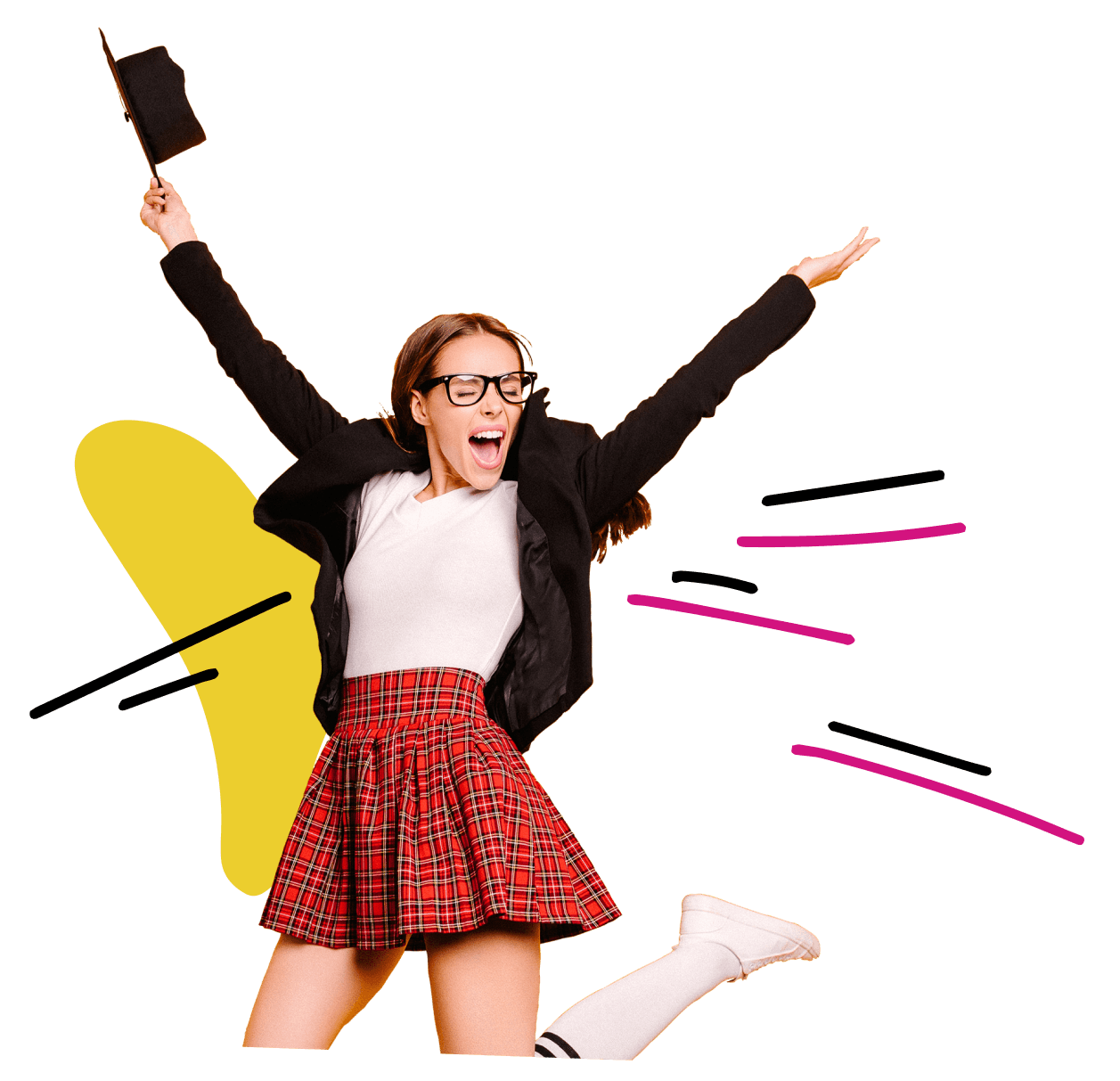Joyful female student at high school graduation in a plaid skirt and blazer jumping excitedly in the air waving a graduation cap