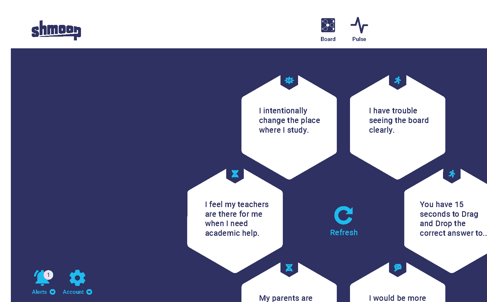 Screenshot of Heartbeat student view with hexagon tiles