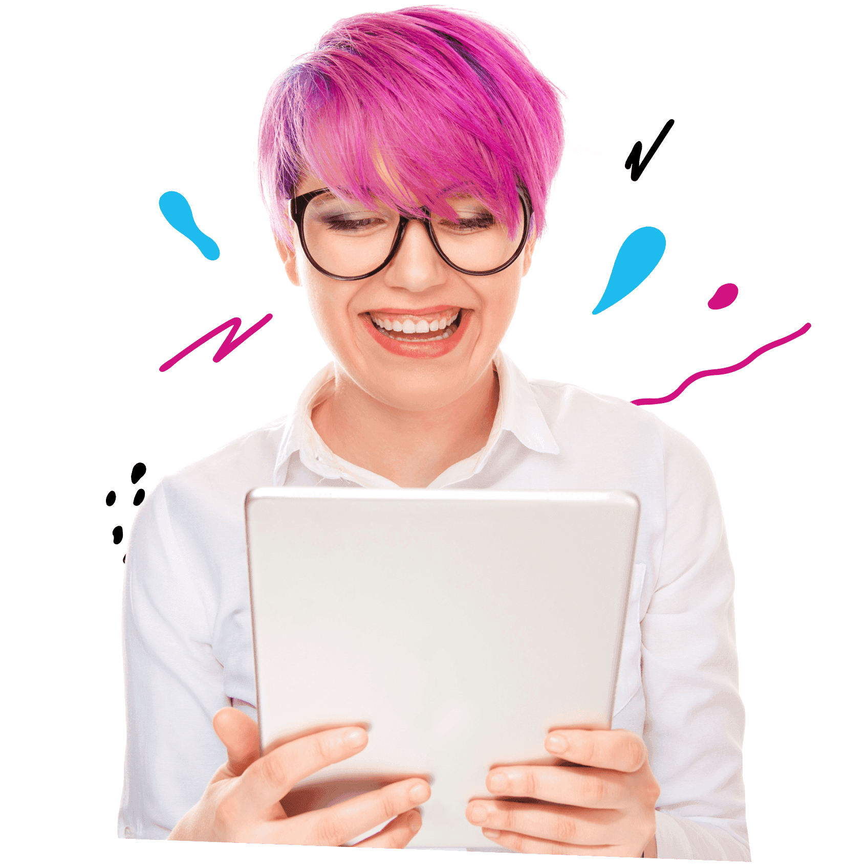 student-with-magenta-hair-laughing-at-shmoop-on-tablet