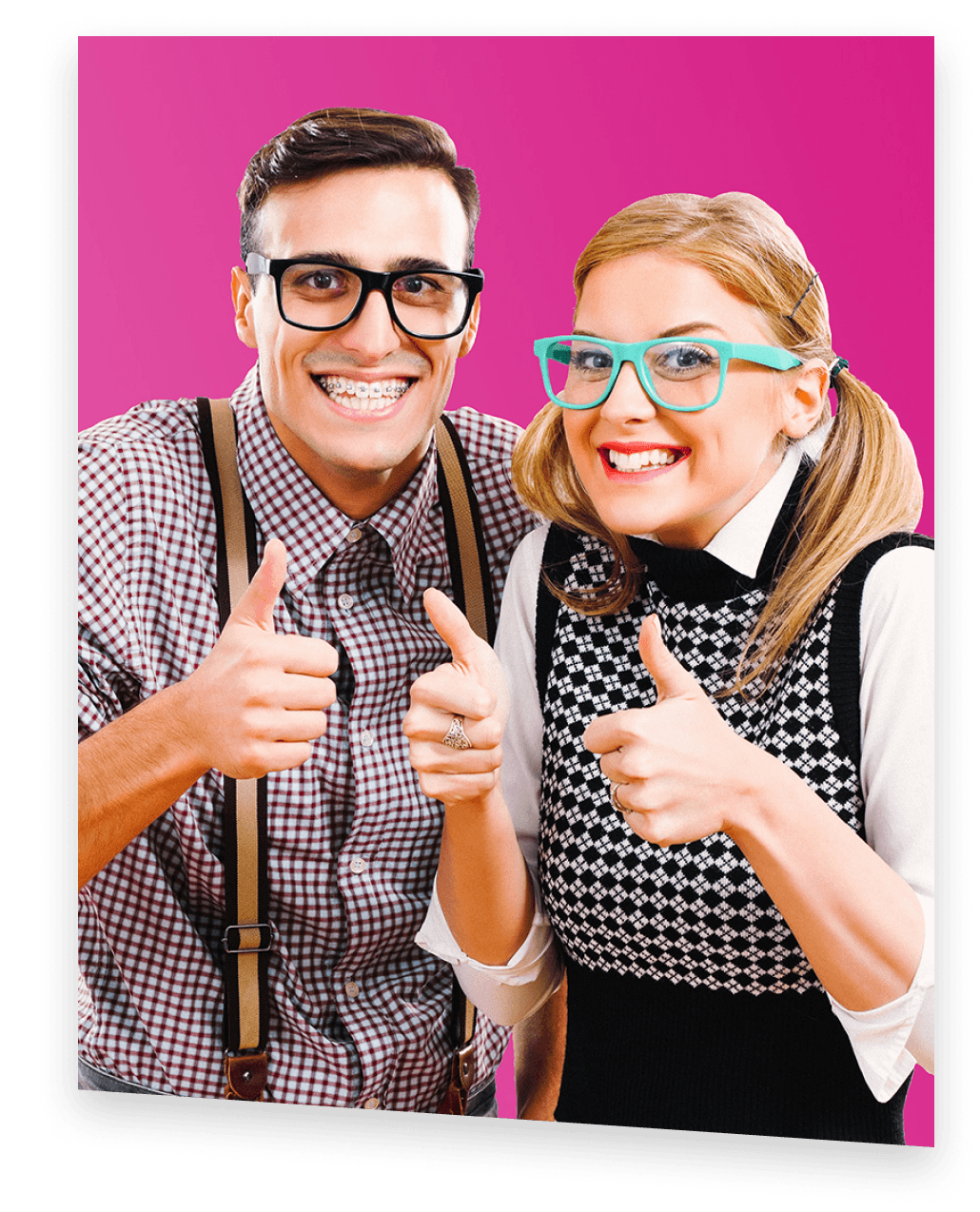 Two intellectual shmoop students giving thumbs up with smiling faces