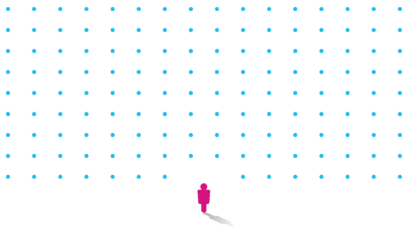 Pink student icon surrounded by blue dots